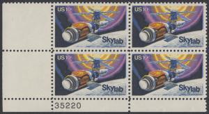 USA Michel 1136 / Scott 1529 postfrisch PLATEBLOCK ECKRAND unten links m/ Platten-# 35220 - Raumfahrtunternehmen Skylab