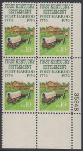 USA Michel 1149 / Scott 1542 postfrisch PLATEBLOCK ECKRAND unten rechts m/ Platten-# 35248 - Besiedelung von Kentucky; Planwagen vor Fort Harrod