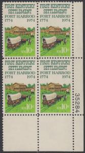 USA Michel 1149 / Scott 1542 postfrisch PLATEBLOCK ECKRAND unten rechts m/ Platten-# 35284 - Besiedelung von Kentucky; Planwagen vor Fort Harrod