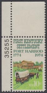 USA Michel 1149 / Scott 1542 postfrisch EINZELMARKE ECKRAND oben links m/ Platten-# 35255 - Besiedelung von Kentucky; Planwagen vor Fort Harrod