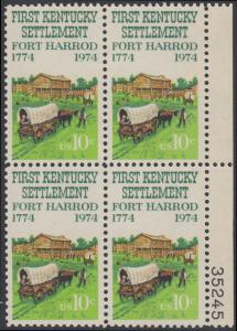 USA Michel 1149 / Scott 1542 postfrisch BLOCK RÄNDER rechts m/ Platten-# 35245 - Besiedelung von Kentucky; Planwagen vor Fort Harrod
