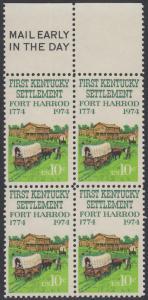 USA Michel 1149 / Scott 1542 postfrisch BLOCK RÄNDER oben m/ Mail Early-Vermerk - Besiedelung von Kentucky; Planwagen vor Fort Harrod
