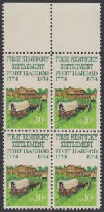 USA Michel 1149 / Scott 1542 postfrisch BLOCK RÄNDER oben - Besiedelung von Kentucky; Planwagen vor Fort Harrod