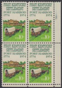 USA Michel 1149 / Scott 1542 postfrisch BLOCK RÄNDER unten - Besiedelung von Kentucky; Planwagen vor Fort Harrod