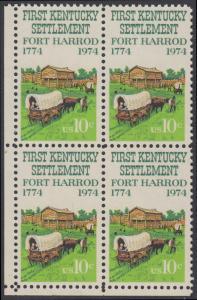 USA Michel 1149 / Scott 1542 postfrisch BLOCK ECKRAND unten links - Besiedelung von Kentucky; Planwagen vor Fort Harrod