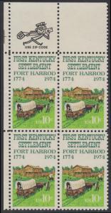 USA Michel 1149 / Scott 1542 postfrisch ZIP-BLOCK (ul) - Besiedelung von Kentucky; Planwagen vor Fort Harrod