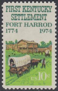 USA Michel 1149 / Scott 1542 postfrisch EINZELMARKE - Besiedelung von Kentucky; Planwagen vor Fort Harrod