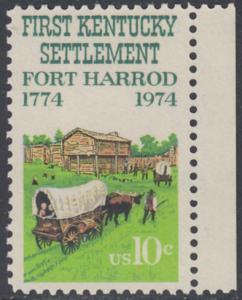 USA Michel 1149 / Scott 1542 postfrisch EINZELMARKE RAND rechts - Besiedelung von Kentucky; Planwagen vor Fort Harrod