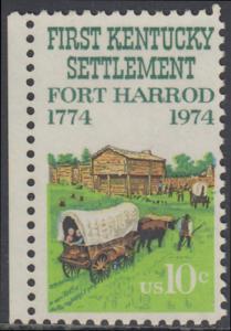 USA Michel 1149 / Scott 1542 postfrisch EINZELMARKE RAND links (a) - Besiedelung von Kentucky; Planwagen vor Fort Harrod