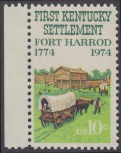 USA Michel 1149 / Scott 1542 postfrisch EINZELMARKE RAND links (b) - Besiedelung von Kentucky; Planwagen vor Fort Harrod