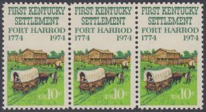 USA Michel 1149 / Scott 1542 postfrisch horiz.STRIP(3) - Besiedelung von Kentucky; Planwagen vor Fort Harrod