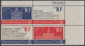 USA Michel 1150-1152 / Scott 1543-1546 postfrisch PLATEBLOCK ECKRAND oben rechts m/ Platten-# 35335 - 200 Jahre Unabhängigkeit der Vereinigten Staaten von Amerika (1976): Erster Kontinentalkongress