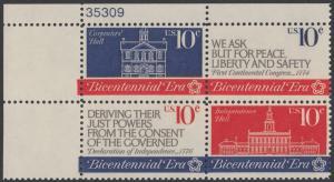 USA Michel 1150-1152 / Scott 1543-1546 postfrisch PLATEBLOCK ECKRAND oben links m/ Platten-# 35309 - 200 Jahre Unabhängigkeit der Vereinigten Staaten von Amerika (1976): Erster Kontinentalkongress