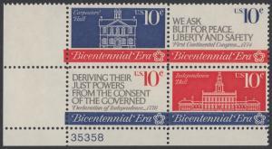 USA Michel 1150-1152 / Scott 1543-1546 postfrisch PLATEBLOCK ECKRAND unten links m/ Platten-# 35358 - 200 Jahre Unabhängigkeit der Vereinigten Staaten von Amerika (1976): Erster Kontinentalkongress