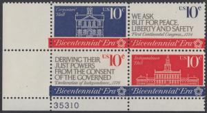 USA Michel 1150-1152 / Scott 1543-1546 postfrisch PLATEBLOCK ECKRAND unten links m/ Platten-# 35310 - 200 Jahre Unabhängigkeit der Vereinigten Staaten von Amerika (1976): Erster Kontinentalkongress