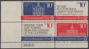 USA Michel 1150-1152 / Scott 1543-1546 postfrisch PLATEBLOCK ECKRAND unten links m/ Platten-# 35313 - 200 Jahre Unabhängigkeit der Vereinigten Staaten von Amerika (1976): Erster Kontinentalkongress