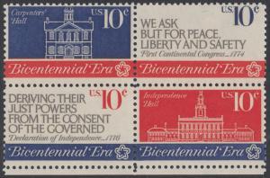 USA Michel 1150-1152 / Scott 1543-1546 postfrisch BLOCK RÄNDER unten - 200 Jahre Unabhängigkeit der Vereinigten Staaten von Amerika (1976): Erster Kontinentalkongress