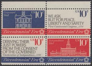 USA Michel 1150-1152 / Scott 1543-1546 postfrisch BLOCK RÄNDER oben - 200 Jahre Unabhängigkeit der Vereinigten Staaten von Amerika (1976): Erster Kontinentalkongress