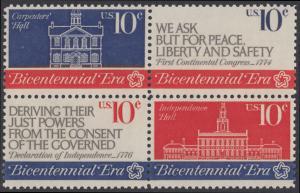 USA Michel 1150-1152 / Scott 1543-1546 postfrisch BLOCK - 200 Jahre Unabhängigkeit der Vereinigten Staaten von Amerika (1976): Erster Kontinentalkongress