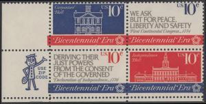 USA Michel 1150-1152 / Scott 1543-1546 postfrisch ZIP-BLOCK (ll) - 200 Jahre Unabhängigkeit der Vereinigten Staaten von Amerika (1976): Erster Kontinentalkongress