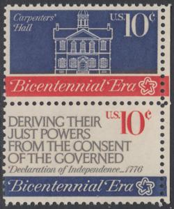 USA Michel 1151+1153 / Scott 1543+1545 postfrisch vert.PAAR RÄNDER rechts - 200 Jahre Unabhängigkeit der Vereinigten Staaten von Amerika (1976): Erster Kontinentalkongress