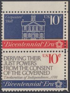 USA Michel 1151+1153 / Scott 1543+1545 postfrisch vert.PAAR ECKRAND oben rechts - 200 Jahre Unabhängigkeit der Vereinigten Staaten von Amerika (1976): Erster Kontinentalkongress