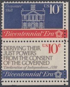 USA Michel 1151+1153 / Scott 1543+1545 postfrisch vert.PAAR ECKRAND unten rechts - 200 Jahre Unabhängigkeit der Vereinigten Staaten von Amerika (1976): Erster Kontinentalkongress