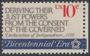 USA Michel 1152 / Scott 1545 postfrisch EINZELMARKE RAND rechts - 200 Jahre Unabhängigkeit der Vereinigten Staaten von Amerika (1976): Erster Kontinentalkongress