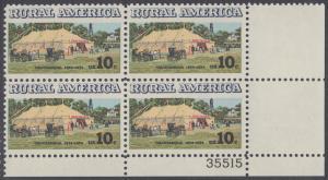 USA Michel 1154 / Scott 1505 postfrisch PLATEBLOCK ECKRAND unten rechts m/ Platten-# 35515 - Ländliches Amerika: Versammlungszelt der Chautauqua-Organisation (religiöse Ferienschule)