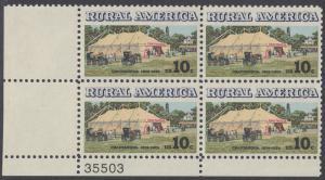 USA Michel 1154 / Scott 1505 postfrisch PLATEBLOCK ECKRAND unten links m/ Platten-# 35503 (b) - Ländliches Amerika: Versammlungszelt der Chautauqua-Organisation (religiöse Ferienschule)