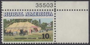 USA Michel 1154 / Scott 1505 postfrisch EINZELMARKE ECKRAND oben rechts m/ Platten-# 35503 - Ländliches Amerika: Versammlungszelt der Chautauqua-Organisation (religiöse Ferienschule)