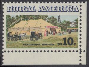 USA Michel 1154 / Scott 1505 postfrisch EINZELMARKE ECKRAND unten rechts - Ländliches Amerika: Versammlungszelt der Chautauqua-Organisation (religiöse Ferienschule)