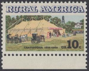 USA Michel 1154 / Scott 1505 postfrisch EINZELMARKE RAND unten - Ländliches Amerika: Versammlungszelt der Chautauqua-Organisation (religiöse Ferienschule)