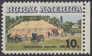 USA Michel 1154 / Scott 1505 postfrisch EINZELMARKE RAND rechts (a1) - Ländliches Amerika: Versammlungszelt der Chautauqua-Organisation (religiöse Ferienschule)