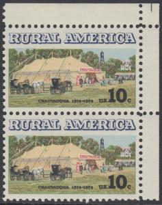USA Michel 1154 / Scott 1505 postfrisch vert.PAAR ECKRAND oben rechts- Ländliches Amerika: Versammlungszelt der Chautauqua-Organisation (religiöse Ferienschule)