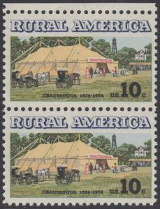 USA Michel 1154 / Scott 1505 postfrisch vert.PAAR RAND oben - Ländliches Amerika: Versammlungszelt der Chautauqua-Organisation (religiöse Ferienschule)