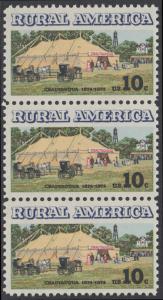 USA Michel 1154 / Scott 1505 postfrisch vert.STRIP(3) - Ländliches Amerika: Versammlungszelt der Chautauqua-Organisation (religiöse Ferienschule)