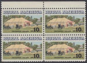 USA Michel 1154 / Scott 1505 postfrisch BLOCK RÄNDER oben - Ländliches Amerika: Versammlungszelt der Chautauqua-Organisation (religiöse Ferienschule)