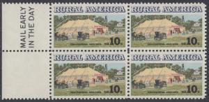 USA Michel 1154 / Scott 1505 postfrisch BLOCK RÄNDER links m/ Mail Early-Vermerk - Ländliches Amerika: Versammlungszelt der Chautauqua-Organisation (religiöse Ferienschule)