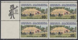 USA Michel 1154 / Scott 1505 postfrisch ZIP-BLOCK (ul/a1) - Ländliches Amerika: Versammlungszelt der Chautauqua-Organisation (religiöse Ferienschule)