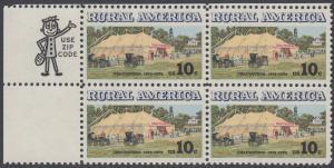 USA Michel 1154 / Scott 1505 postfrisch ZIP-BLOCK (ul/a2) - Ländliches Amerika: Versammlungszelt der Chautauqua-Organisation (religiöse Ferienschule)