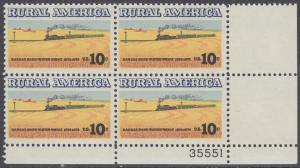 USA Michel 1155 / Scott 1506 postfrisch PLATEBLOCK ECKRAND unten rechts m/ Platten-# 35551 - Ländliches Amerika: Zug zwischen Weizenfeldern
