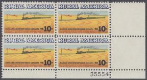 USA Michel 1155 / Scott 1506 postfrisch PLATEBLOCK ECKRAND unten rechts m/ Platten-# 35554 - Ländliches Amerika: Zug zwischen Weizenfeldern