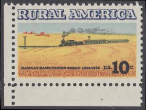 USA Michel 1155 / Scott 1506 postfrisch EINZELMARKE ECKRAND unten links - Ländliches Amerika: Zug zwischen Weizenfeldern