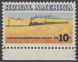 USA Michel 1155 / Scott 1506 postfrisch EINZELMARKE RAND unten - Ländliches Amerika: Zug zwischen Weizenfeldern