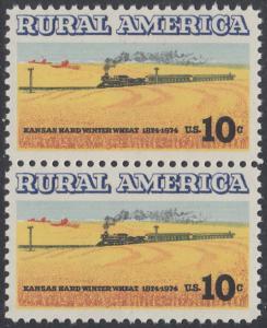 USA Michel 1155 / Scott 1506 postfrisch vert.PAAR - Ländliches Amerika: Zug zwischen Weizenfeldern