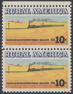 USA Michel 1155 / Scott 1506 postfrisch vert.PAAR RAND oben - Ländliches Amerika: Zug zwischen Weizenfeldern