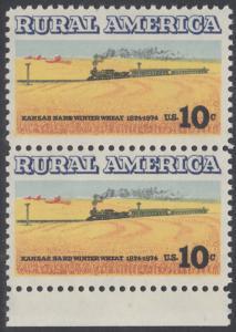 USA Michel 1155 / Scott 1506 postfrisch vert.PAAR RAND unten - Ländliches Amerika: Zug zwischen Weizenfeldern