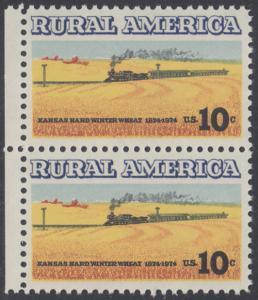 USA Michel 1155 / Scott 1506 postfrisch vert.PAAR RÄNDER links - Ländliches Amerika: Zug zwischen Weizenfeldern