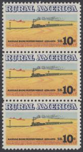 USA Michel 1155 / Scott 1506 postfrisch vert.STRIP(3) - Ländliches Amerika: Zug zwischen Weizenfeldern